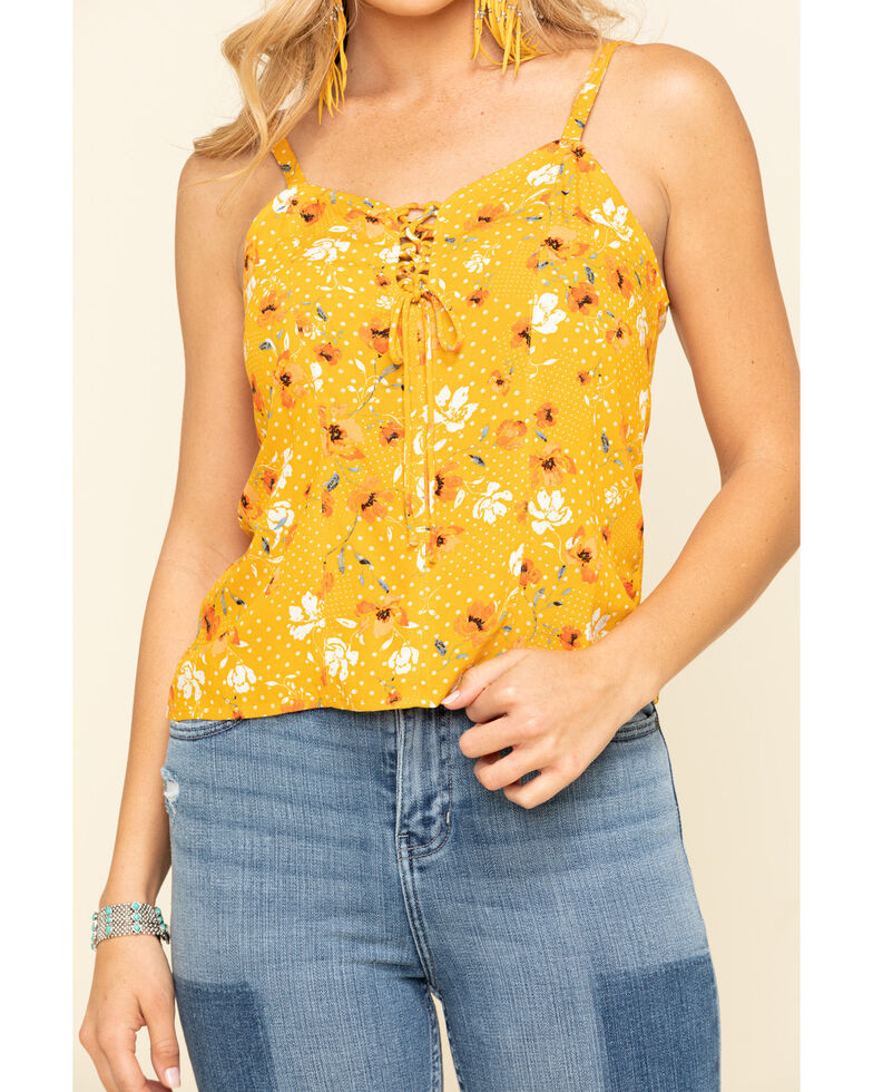 Idyllwind Women's Prairie Ride Lace Up Tank Top , Yellow, hi-res
