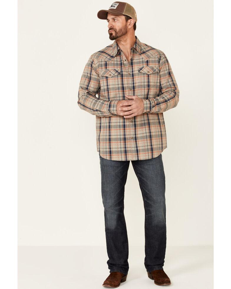 Moonshine Spirit Men's Snake Track Dobby Plaid Long Sleeve Snap Western Shirt , Tan, hi-res
