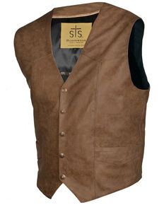 STS Ranchwear Men's Antique Brown Leather Chisum Vest - Big , Brown, hi-res