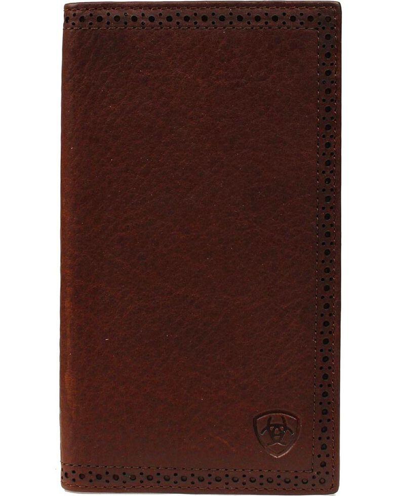 Ariat Men's Rodeo Bi-Fold Leather Checkbook Cover Wallet, Copper, hi-res