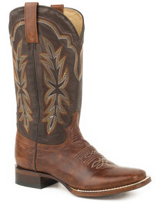Stetson Women's Dark Brown Jessica Western Boots - Wide Square Toe , Brown, hi-res