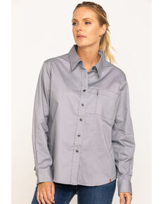 Wrangler Riggs Women's Alloy Grey Long Sleeve Work Shirt, Grey, hi-res