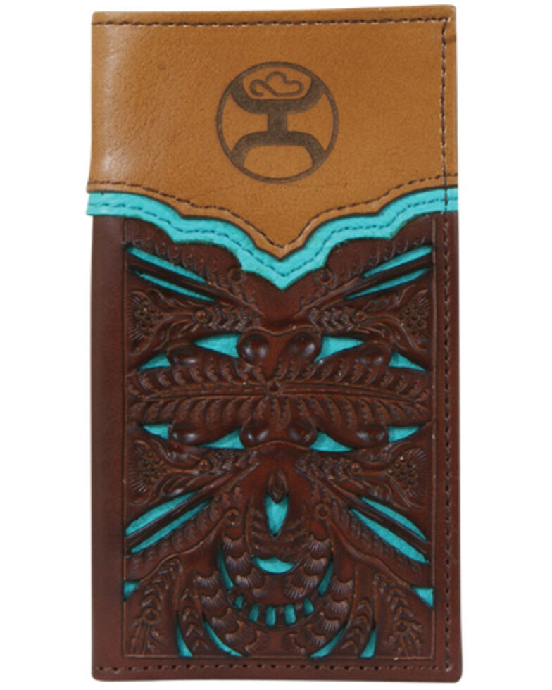 HOOey Boys' Floral Cut-Out Rodeo Wallet, Brown, hi-res