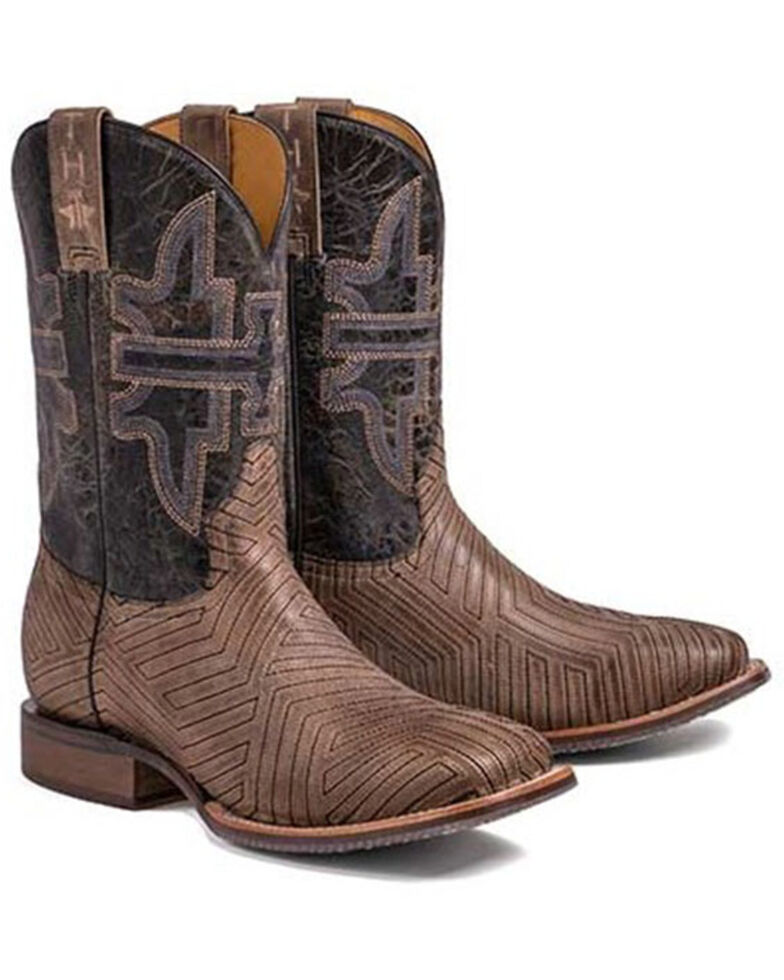 Tin Haul Men's Rowdy Western Boots - Wide Square Toe, Brown, hi-res