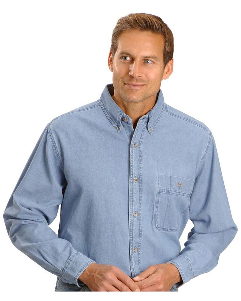 Wrangler Rugged Wear Men's Denim Solid Long Sleeve Work Shirt, Stonewash, hi-res