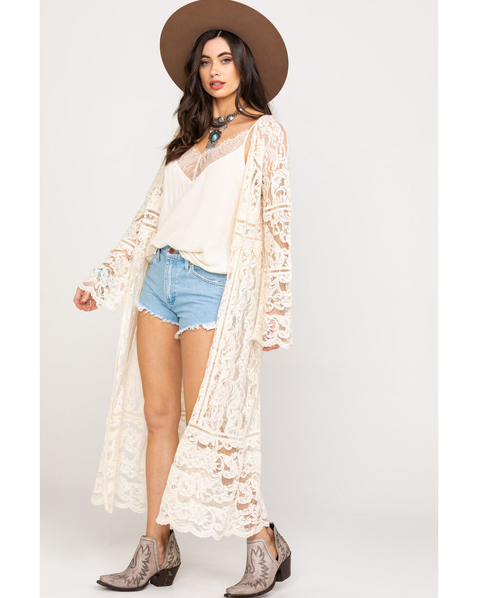 Bodywaves Women's White Lace Bell Sleeve Kimono , Natural, hi-res