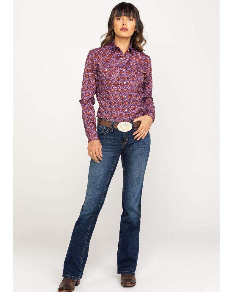 Rough Stock by Panhandle Women's Print Snap Long Sleeve Western Shirt, Purple, hi-res