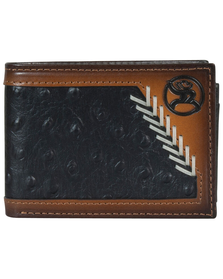 HOOey Men's Black Ostrich Bifold Wallet, Brown, hi-res