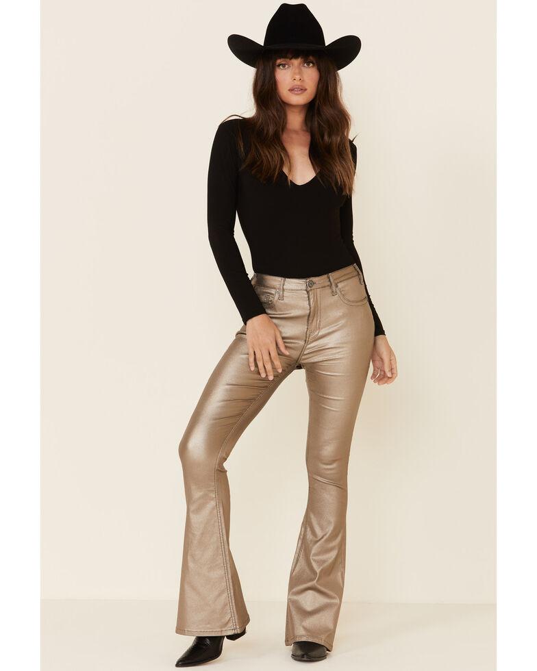 Rock & Roll Denim Women's Gold Flare Jeans, Gold, hi-res