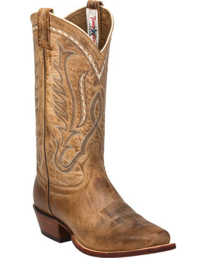 Tony Lama Beige Travis Cowboy Boots - Narrow Square Toe , Beige, hi-res