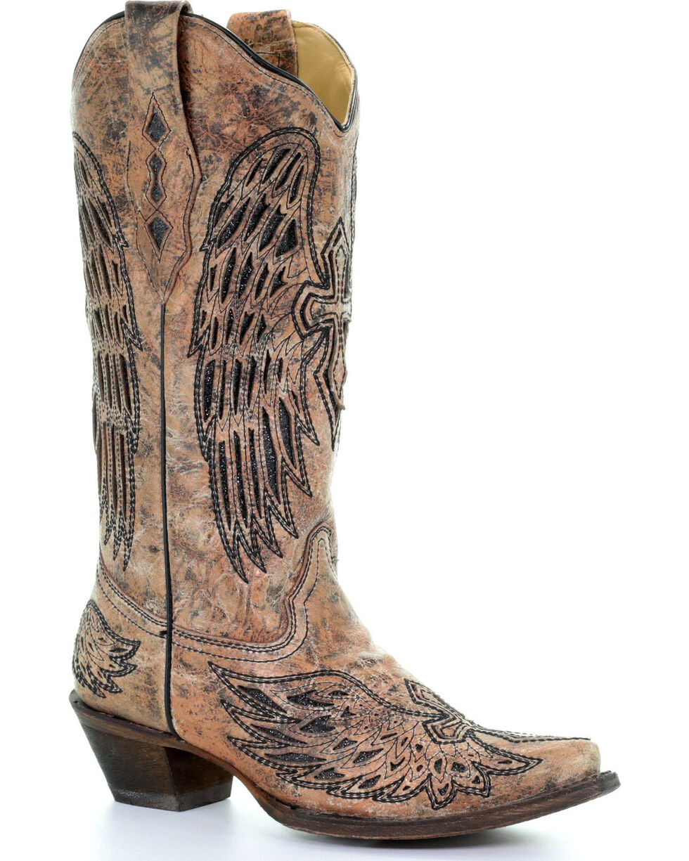 Corral Women's Bronze Wings & Cross Inlay Boots - Snip Toe , Bronze, hi-res