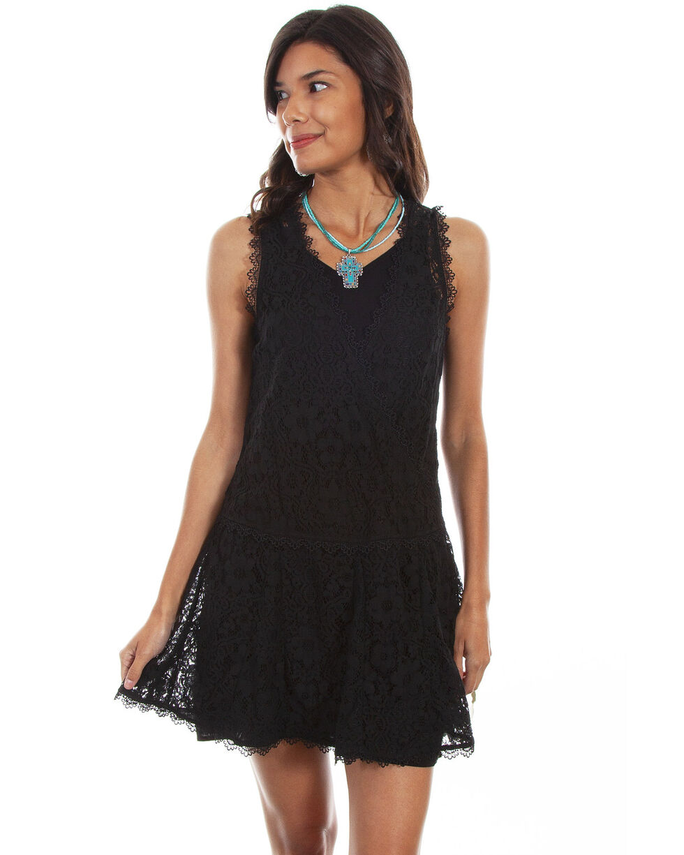 Honey Creek by Scully Women's Black Sleeveless Lace Dress, Black, hi-res