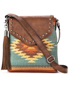 M&F Western Women's Zapotec Messenger Bag, Brown, hi-res