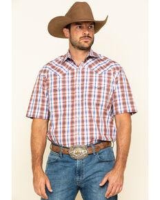 Stetson Men's Desert Dobby Plaid Short Sleeve Western Shirt , Orange, hi-res