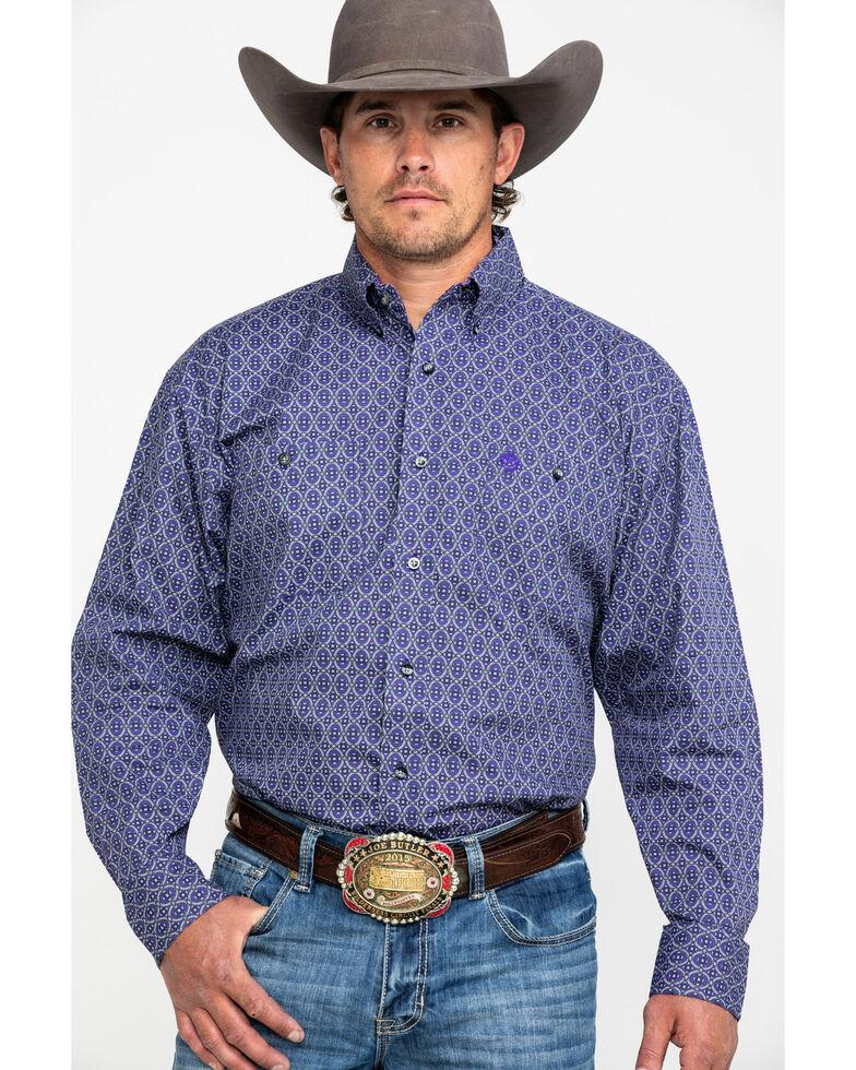 George Strait by Wrangler Men's Purple Geo Print Long Sleeve Western Shirt , Black/purple, hi-res