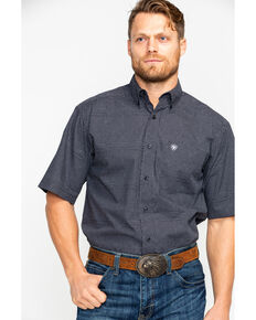 Ariat Men's Feldman Geo Print Short Sleeve Western Shirt , Black, hi-res