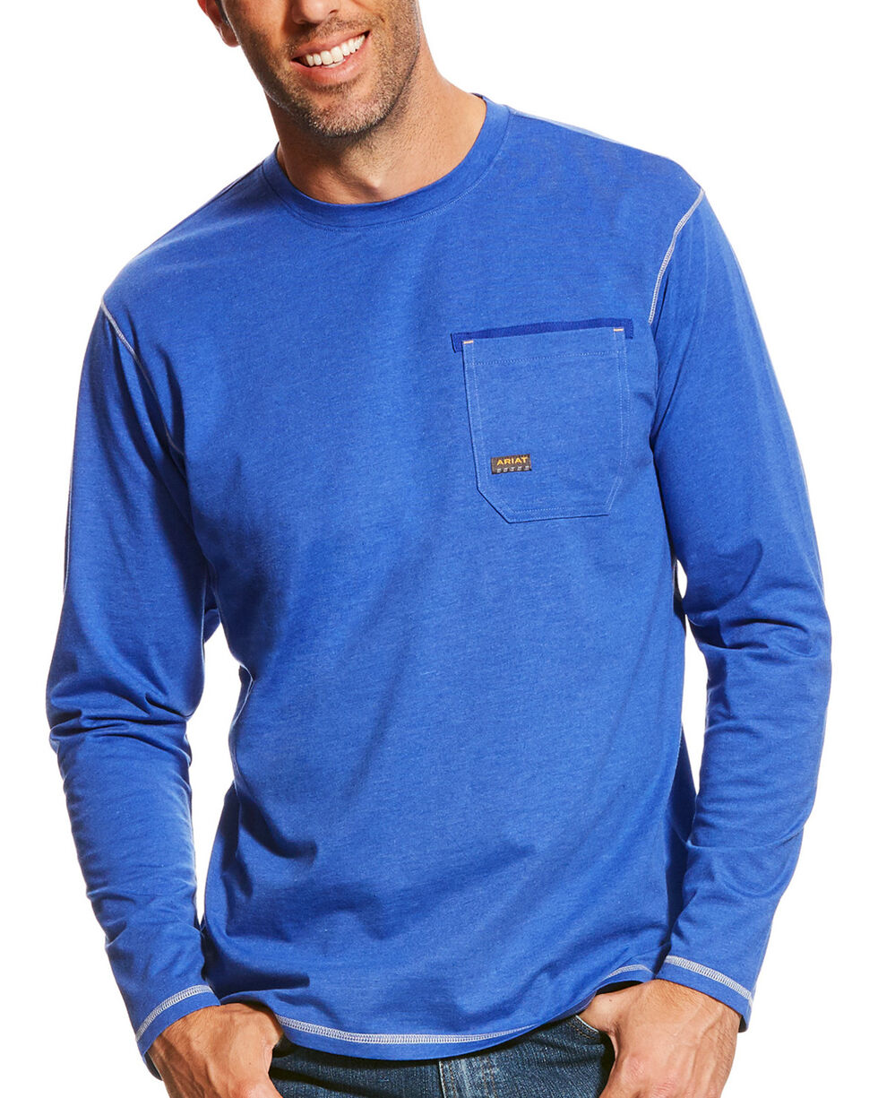 Ariat Men's Royal Blue Heather Rebar Crew Long Sleeve Pocket Tee, Royal Blue, hi-res