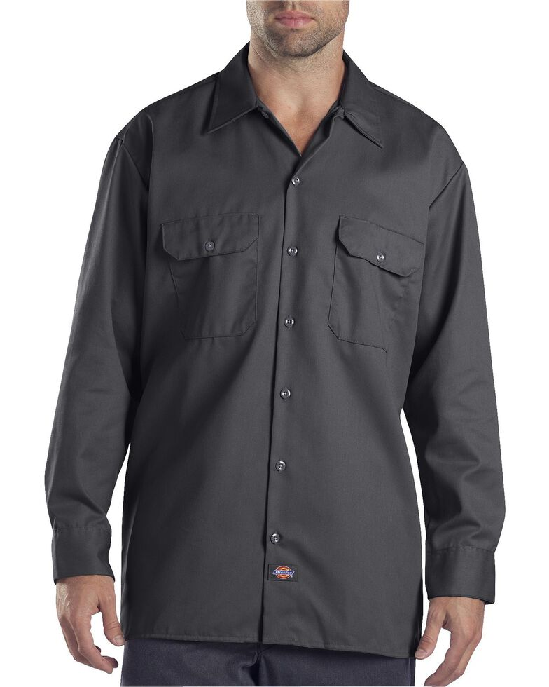 Dickies Men's Solid Twill Button Long Sleeve Work Shirt, Charcoal Grey, hi-res
