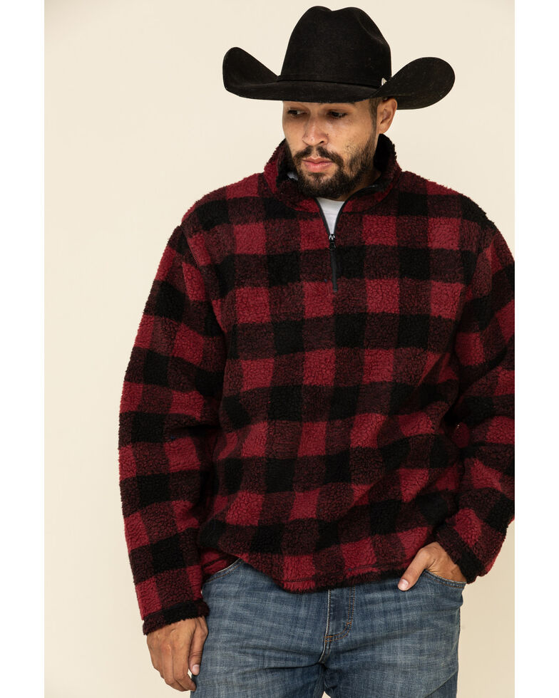 Wrangler Men's Red Buffalo Plaid 1/4 Sherpa Zip Pullover, Red, hi-res