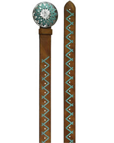 Catchfly Women's Turquoise Lace Round Buckle Belt, Brown, hi-res