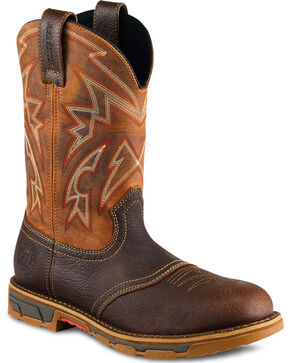 Red Wing Irish Setter Marshall Western Work Boots - Steel Toe , Brown, hi-res