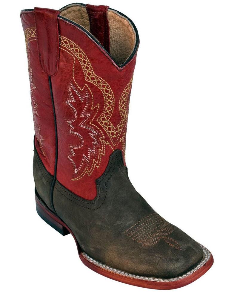 Ferrini Boys' Chocolate Cowhide Western Boots - Square Toe, Chocolate, hi-res