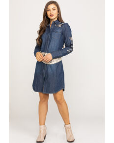 Stetson Women's Rose Embroidered Denim Dress, Blue, hi-res