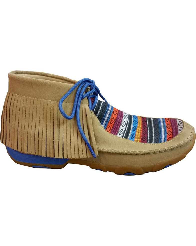 Twisted X Women's Serape Fringe Moccasins, Tan, hi-res