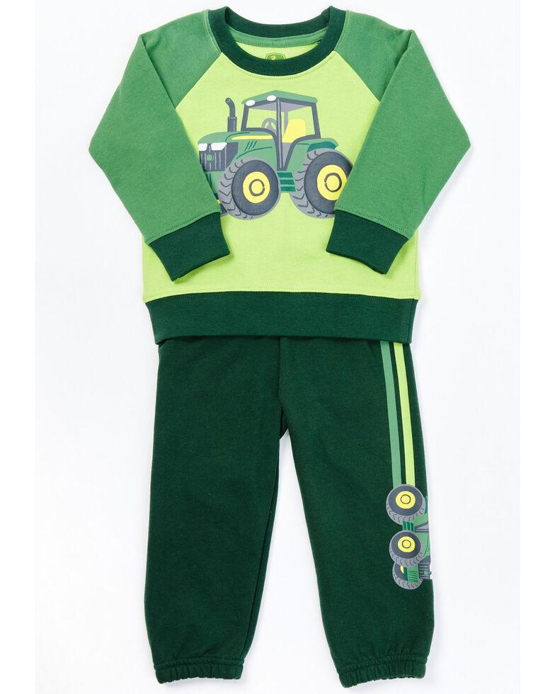 John Deere Infant Boys' 2-Piece Green Tractor Sweatshirt & Jogger Set, Green, hi-res