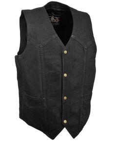 Milwaukee Leather Men's Classic Snap Front Denim Biker Vest, Black, hi-res