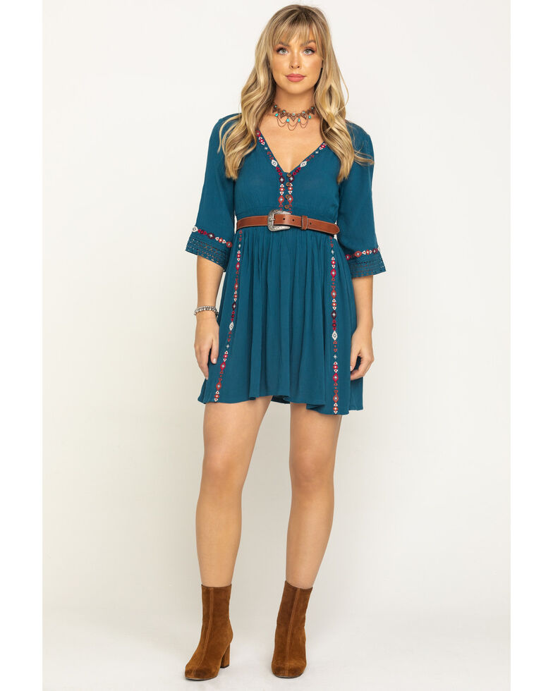 Shyanne Women's Teal Embroidered Peasant Dress , Teal, hi-res