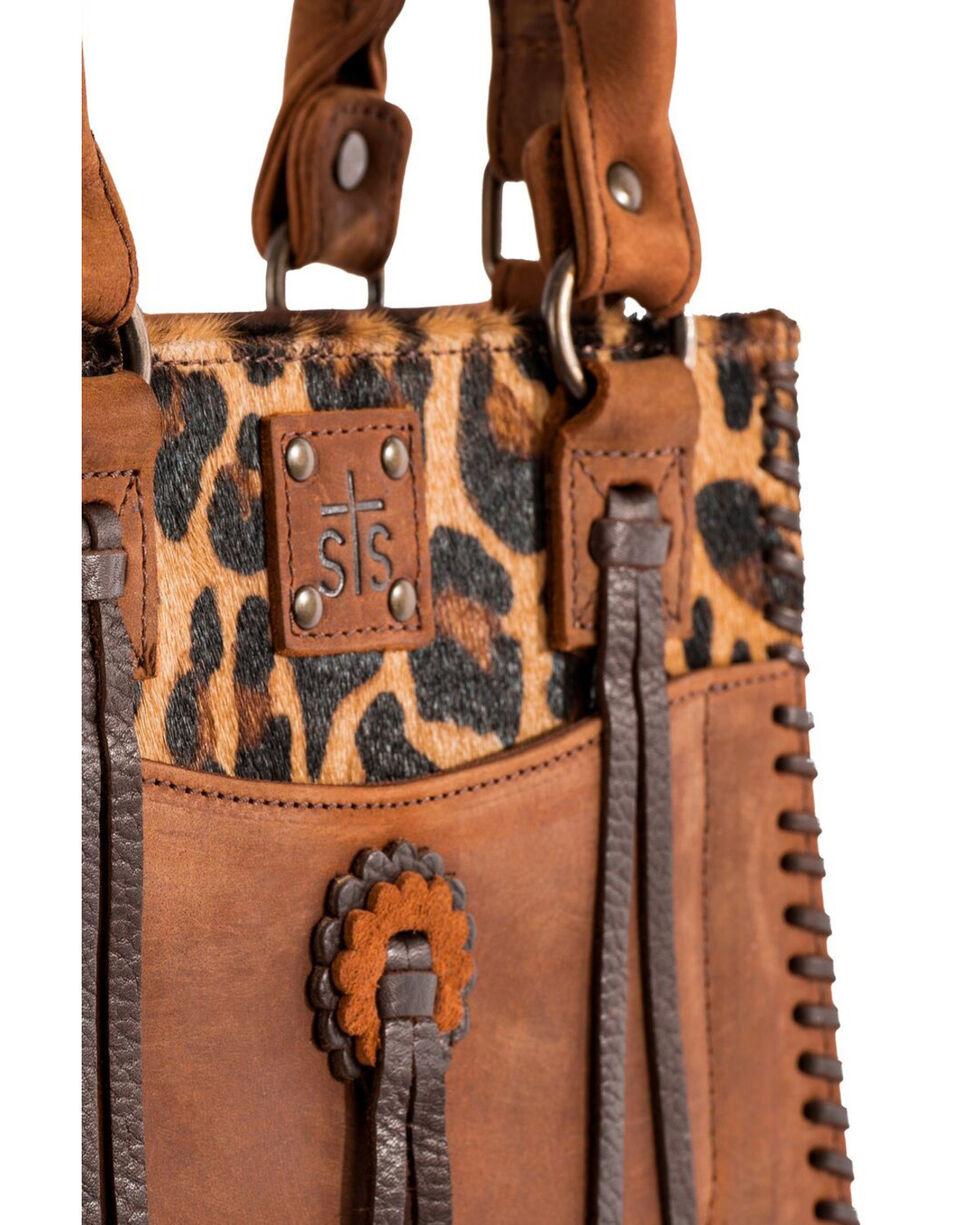 STS Ranchwear Women's Chaps Purse Leopard Print Cowhide Purse, Brown, hi-res