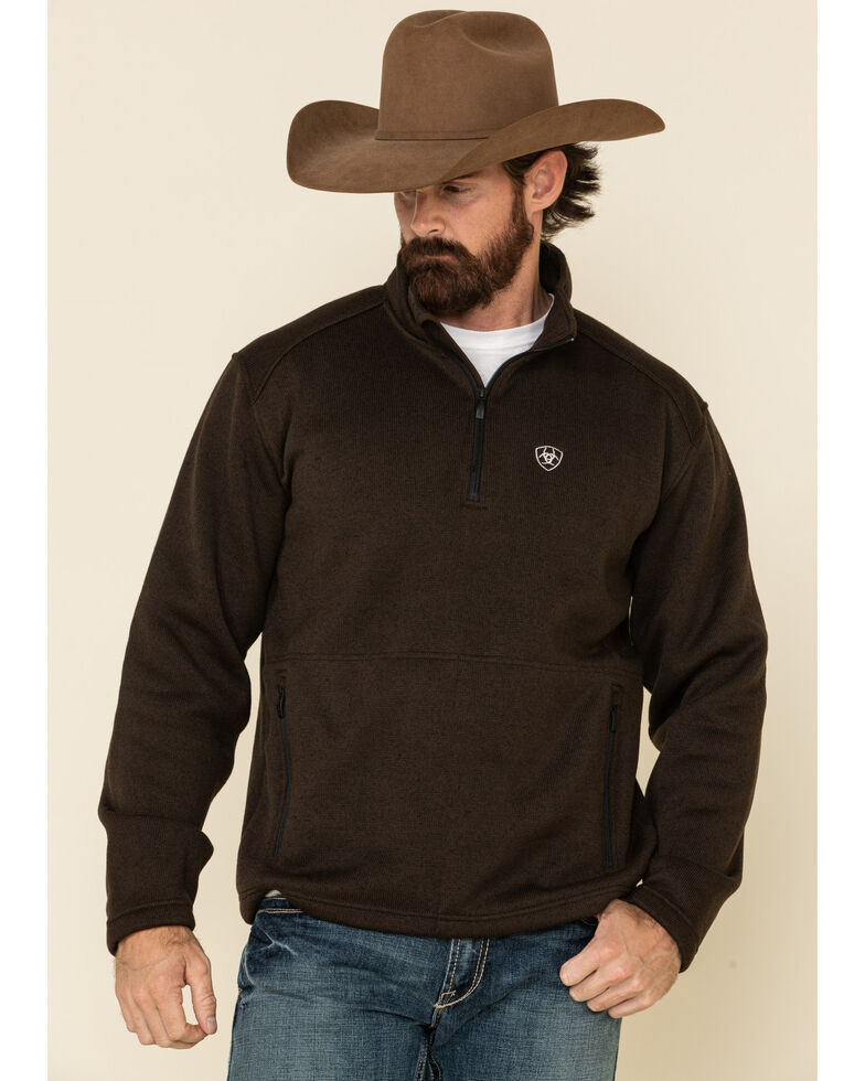 Ariat Men's Brown Caldwell 1/4 Zip Pullover Sweatshirt , Brown, hi-res