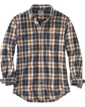 Carhartt Men's Hubbard Plaid Flannel Work Shirt - Tall, Slate, hi-res