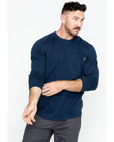Hawx® Men's Navy Logo Crew Long Sleeve Work T-Shirt - Big , Navy, hi-res