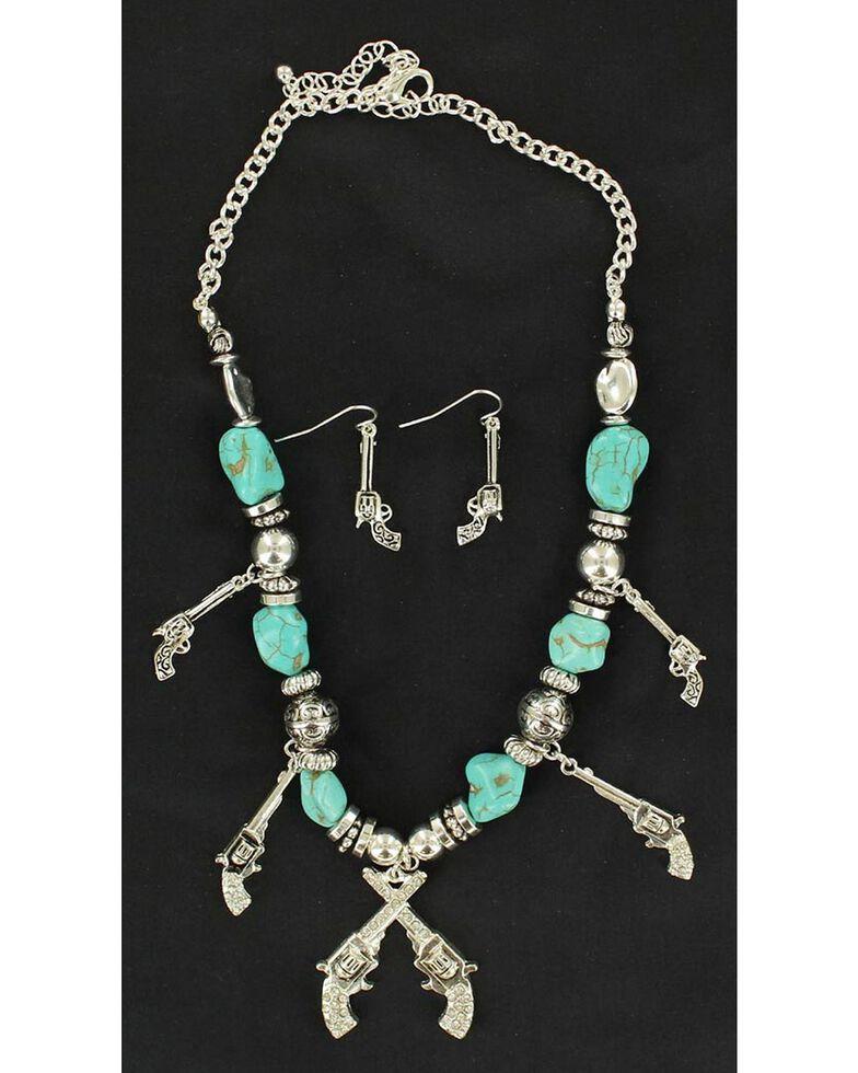 Blazin Roxx Turquoise Beaded Pistol Charm Necklace & Earrings Set, Turquoise, hi-res