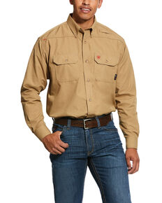 Ariat Men's Khaki FR Solid Featherlight Long Sleeve Work Shirt - Tall , Beige/khaki, hi-res
