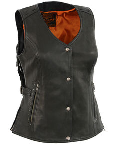 Milwaukee Leather Women's Fringe Snap Front Vest - 5X, Black, hi-res