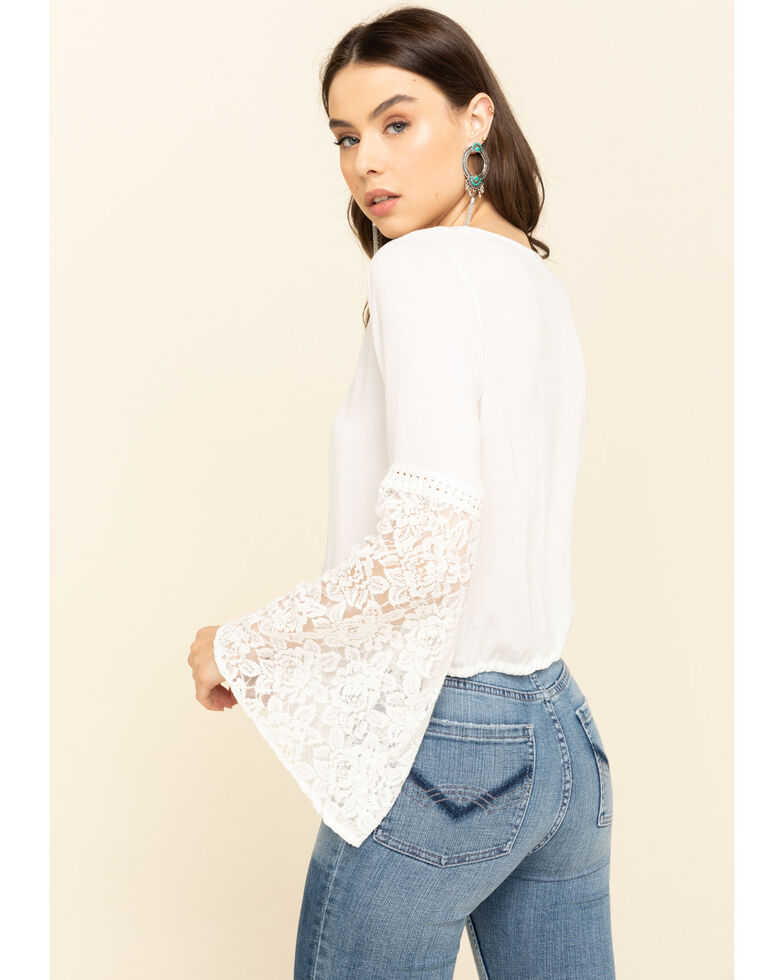 Loveriche Women's White Lace Bell Sleeve Top , White, hi-res
