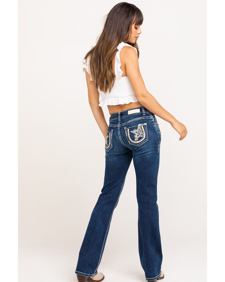Rock & Roll Cowgirl Women's Medium Mid-Rise Star Bootcut Jeans, Blue, hi-res