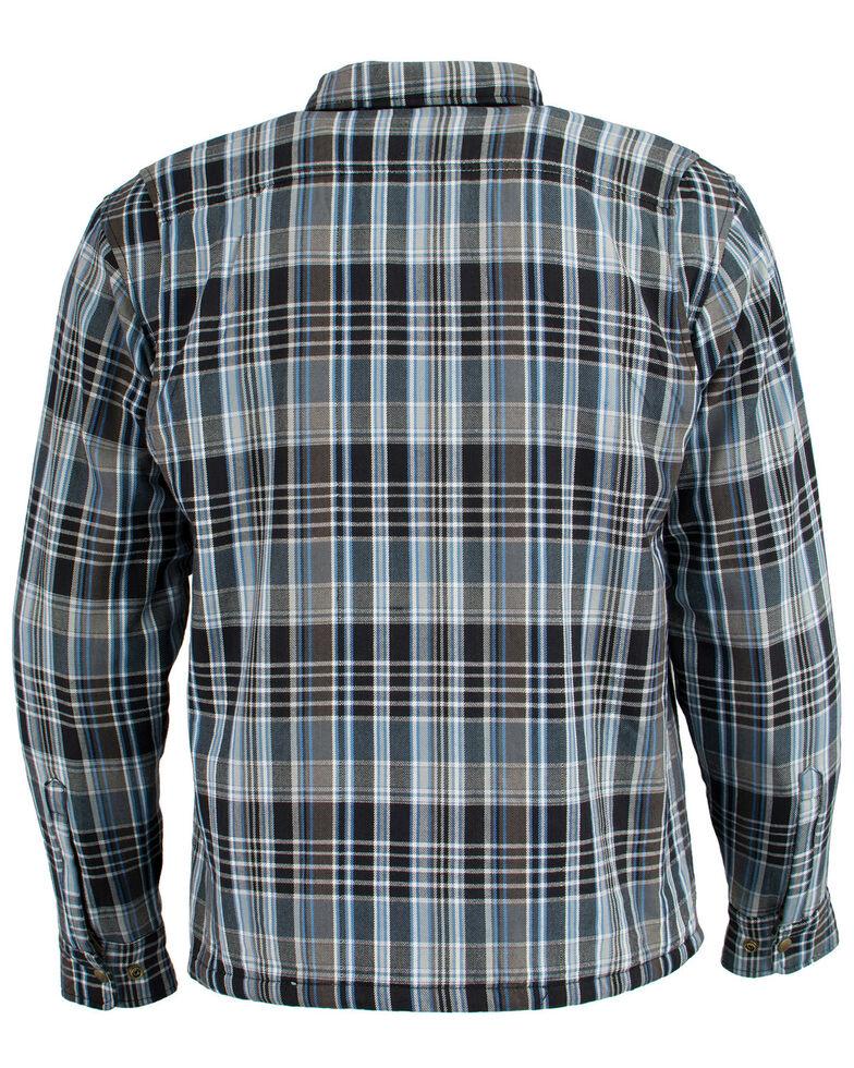 Milwaukee Performance Men's Black/White/Blue Aramid Flannel Biker Jacket - 4X, Black/blue, hi-res