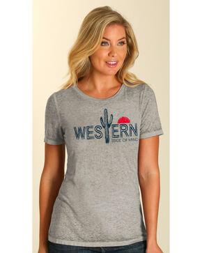 Wrangler Women's Grey Western Cacti Tee , Grey, hi-res