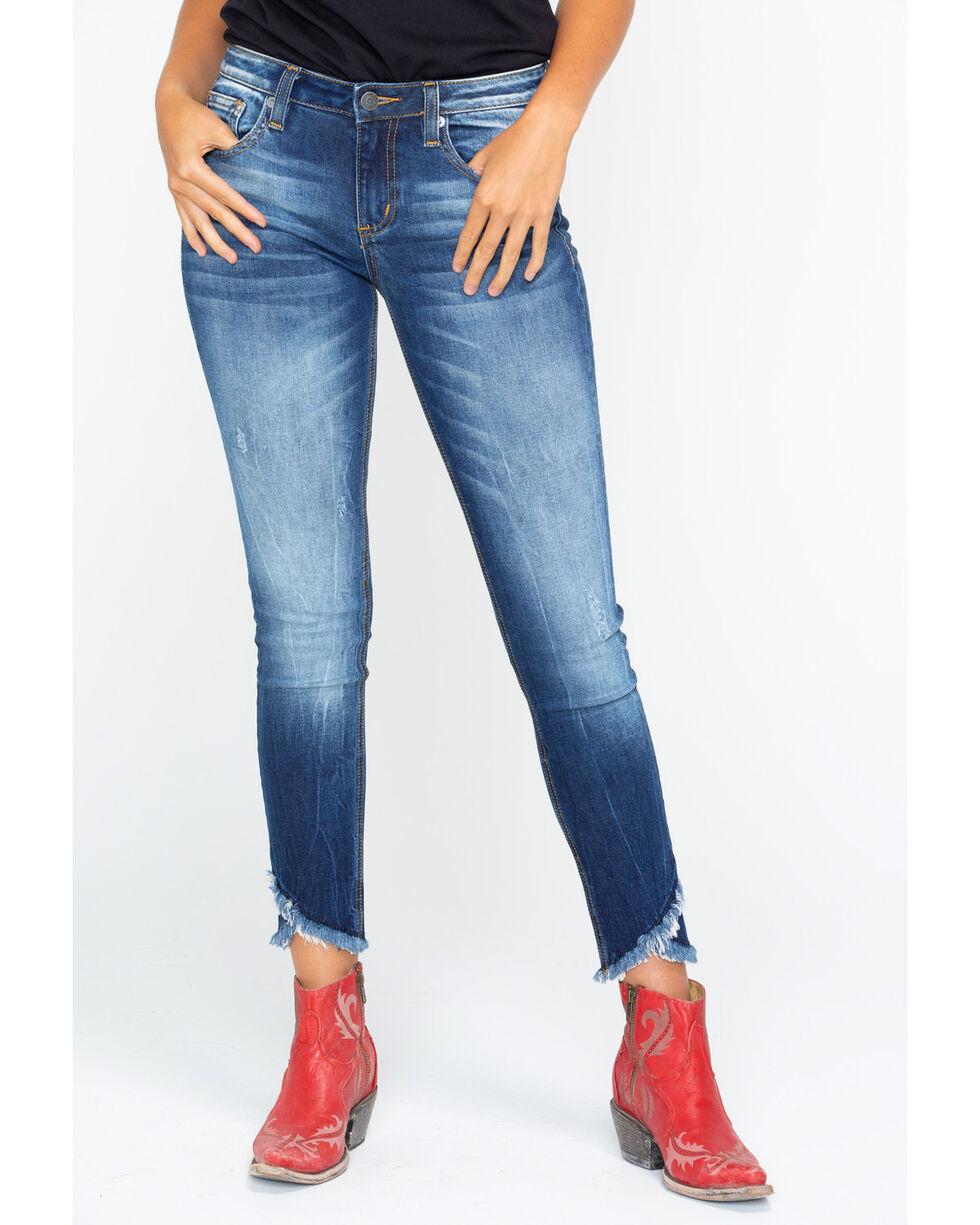 Miss Me Women's Destructed Hem Ankle Skinny Jeans , Indigo, hi-res