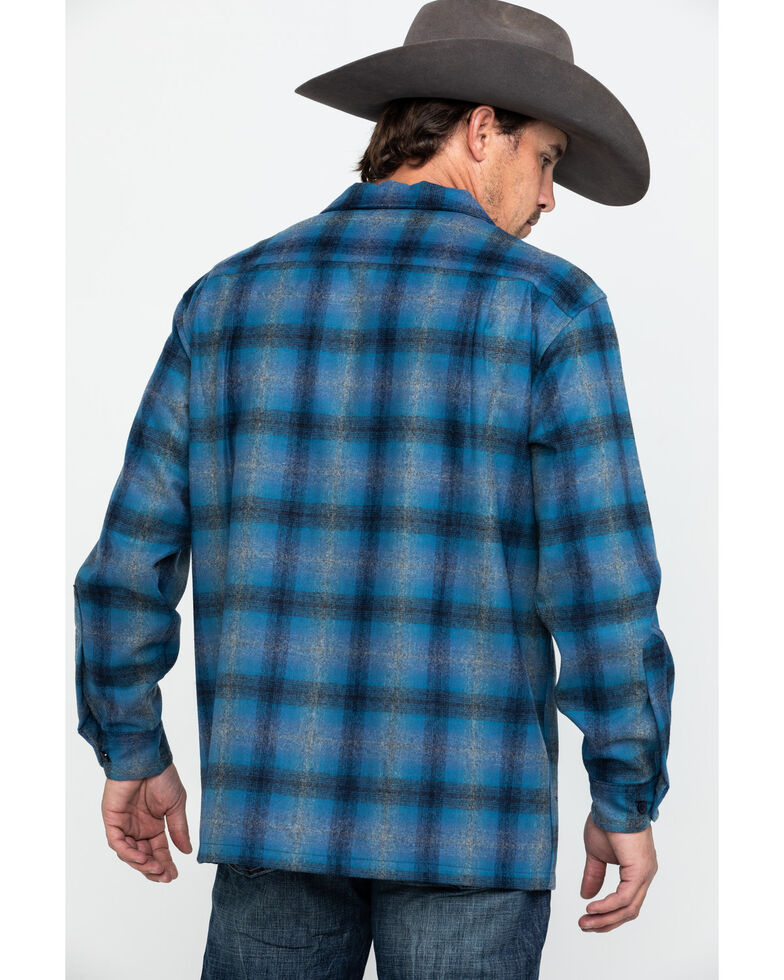 Pendleton Men's Original Board Long Sleeve Flannel Shirt Jacket, Dark Blue, hi-res