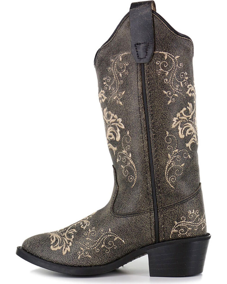 Shyanne® Girls' Filigree Embroidered Western Boots, Grey, hi-res