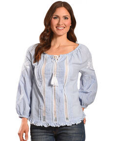 Bila Women's Blue Striped Peasant Top , Blue, hi-res