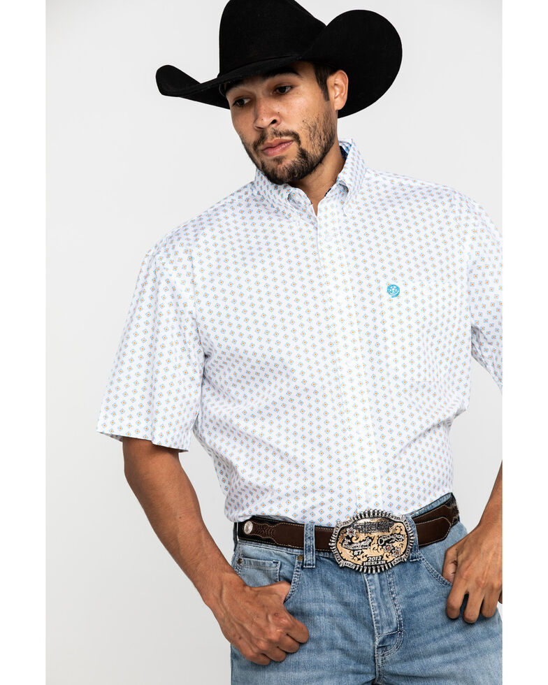 George Strait by Wrangler Blue Small Geo Print Short Sleeve Western Shirt , Blue, hi-res