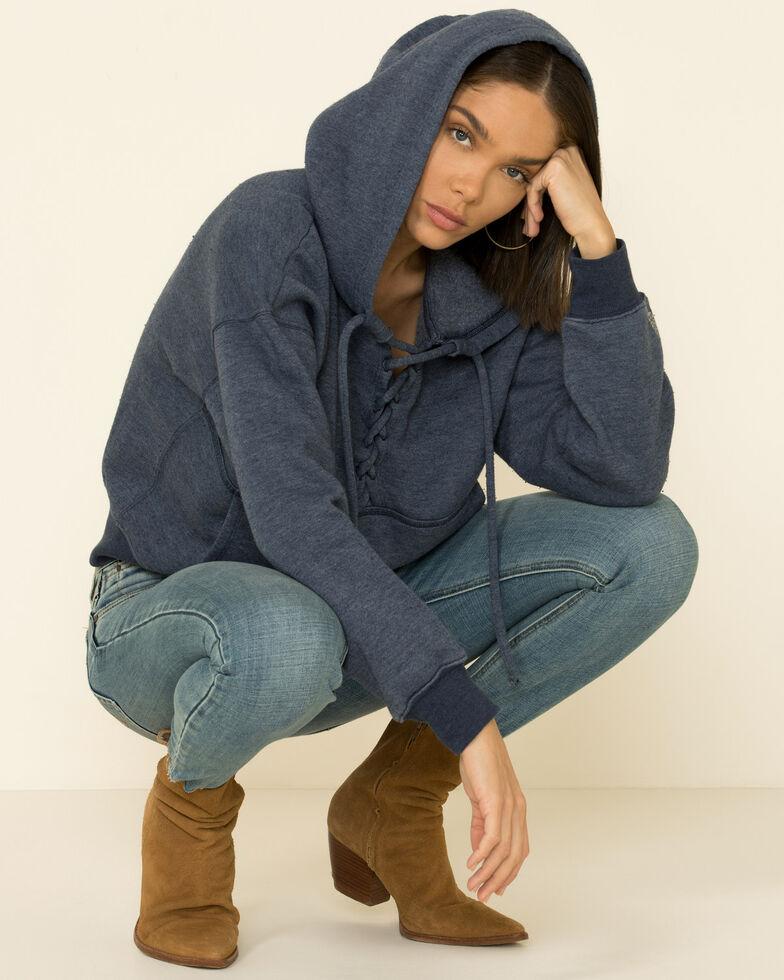 Free People Women's Believe Lace-Up Front Hooded Sweatshirt  , Navy, hi-res