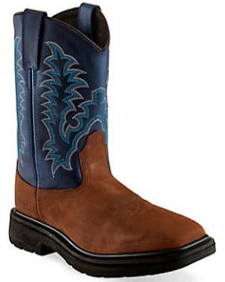 Old West Men's Shaft Embroidery Western Work Boots - Soft Toe, Brown, hi-res