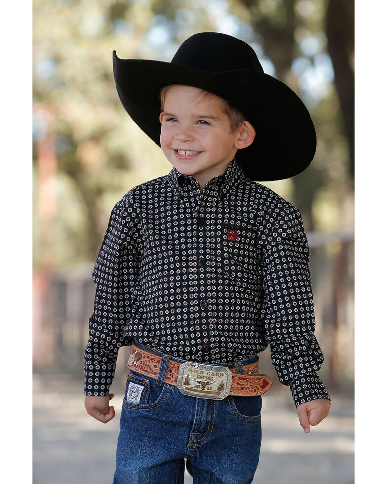 Cinch Toddler Boy's Geo Print Core Button Long Sleeve Western Shirt , Black, hi-res